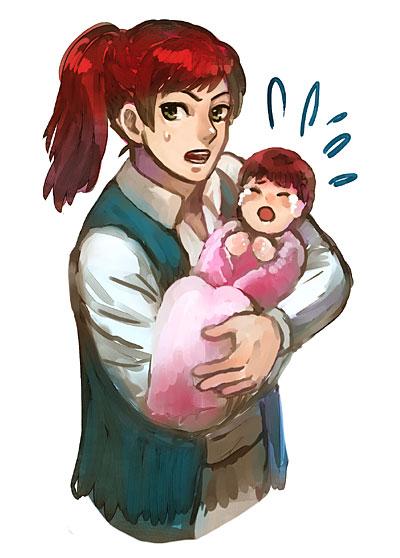 赤ちゃんに困惑クリント。